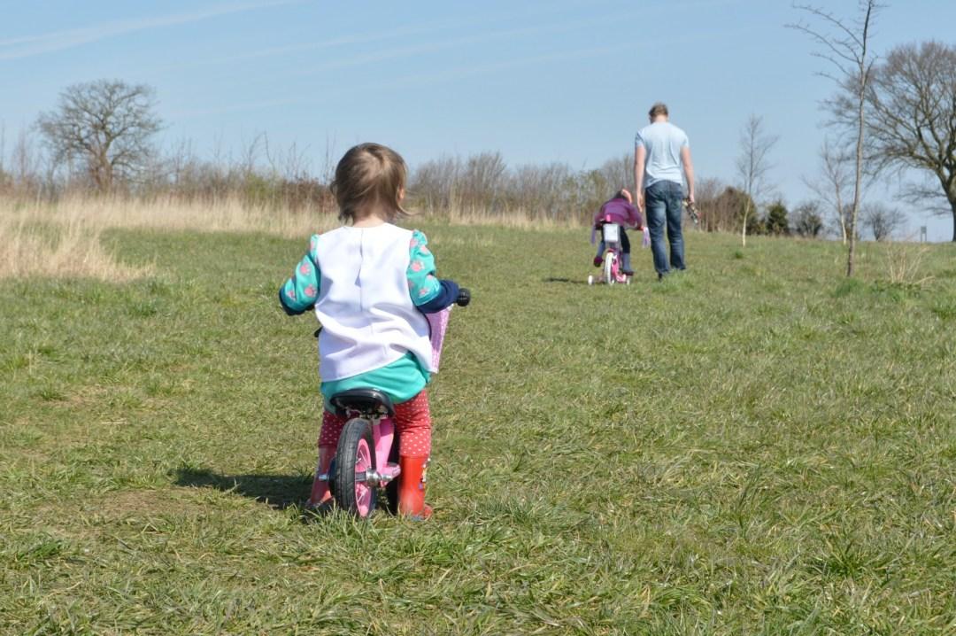 riding on a balance bike