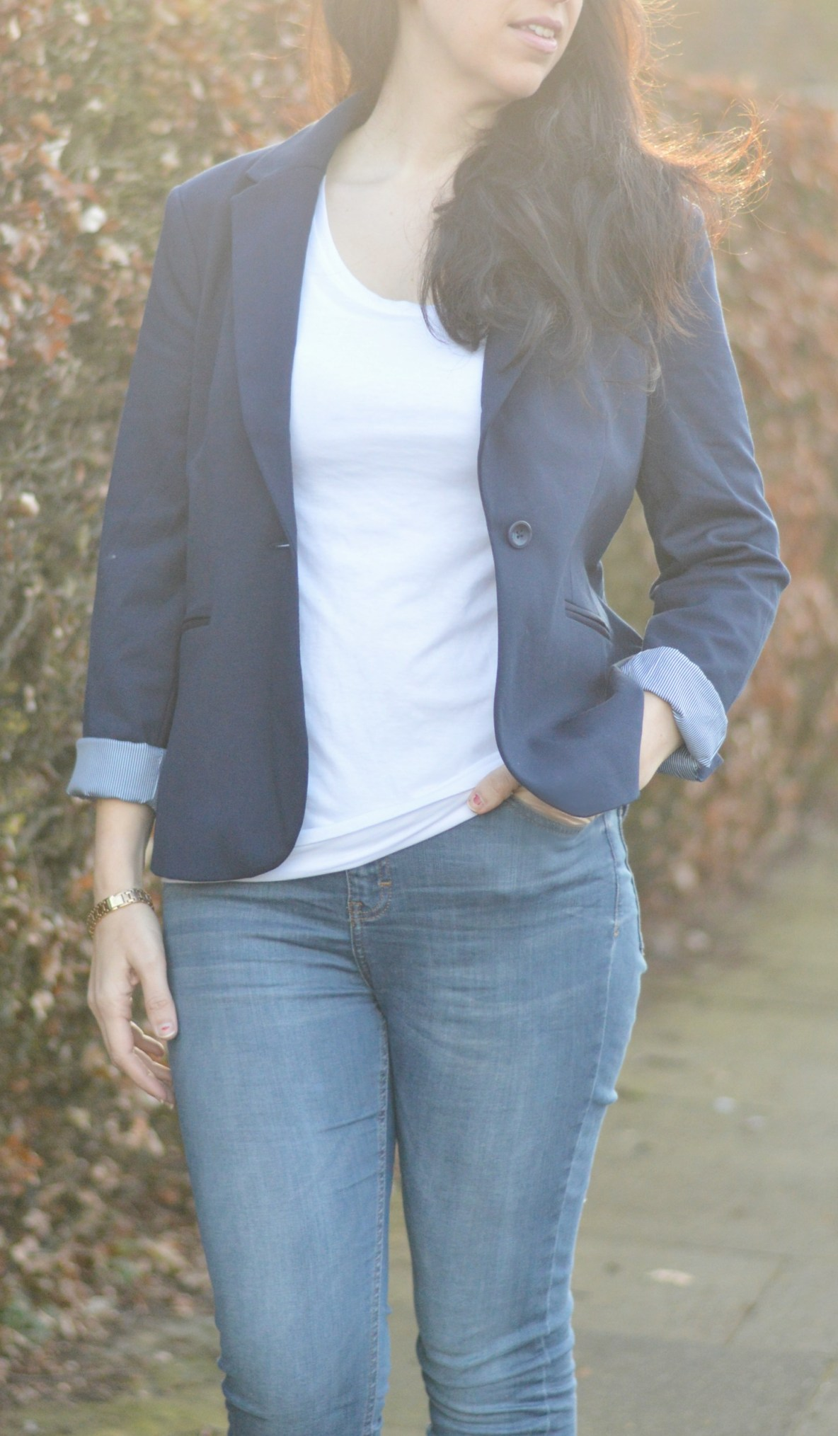 mama style Gap Navy blazer and jeans