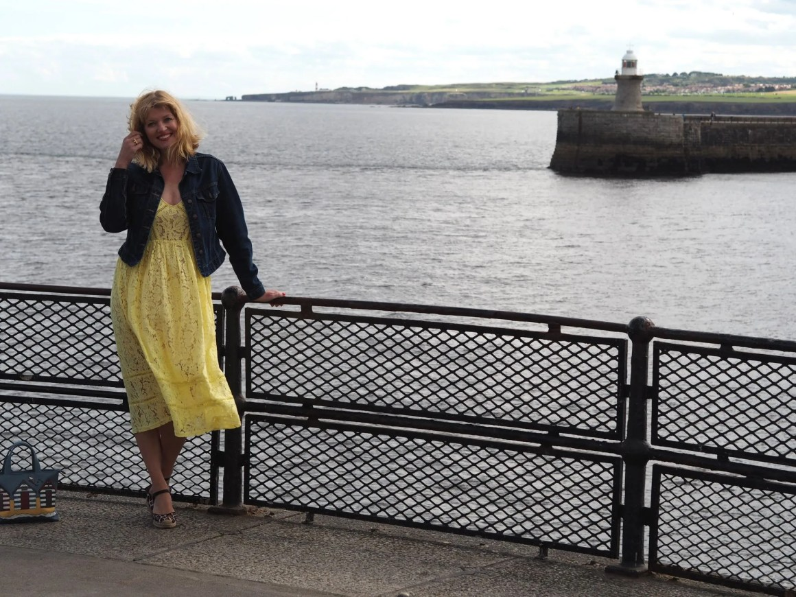 what-lizzy-loves-yellow-lace-midi-dress-yellowlacedress-leopard-espadrilles-denim-jacket-tynemouth-north-pier