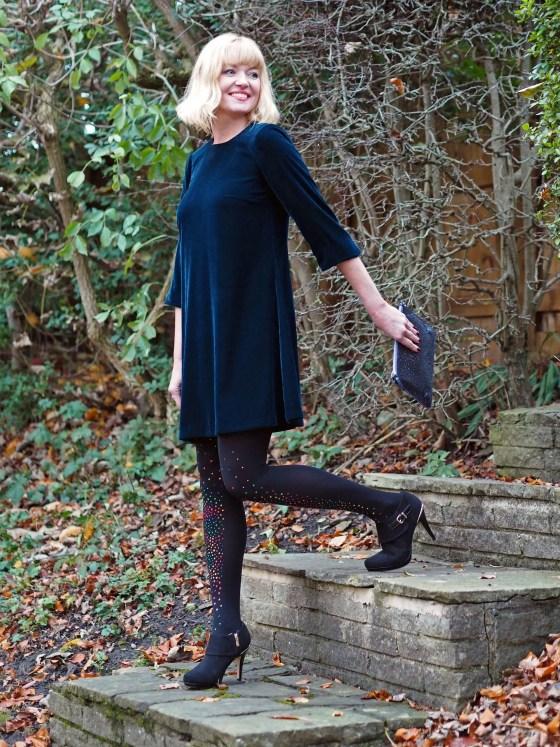 what Lizzy Loves teal velvet swing dress multi-coloured crystal tights