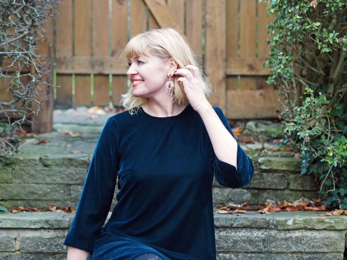 what Lizzy Loves teal velvet swing dress multi-coloured crystal earrings