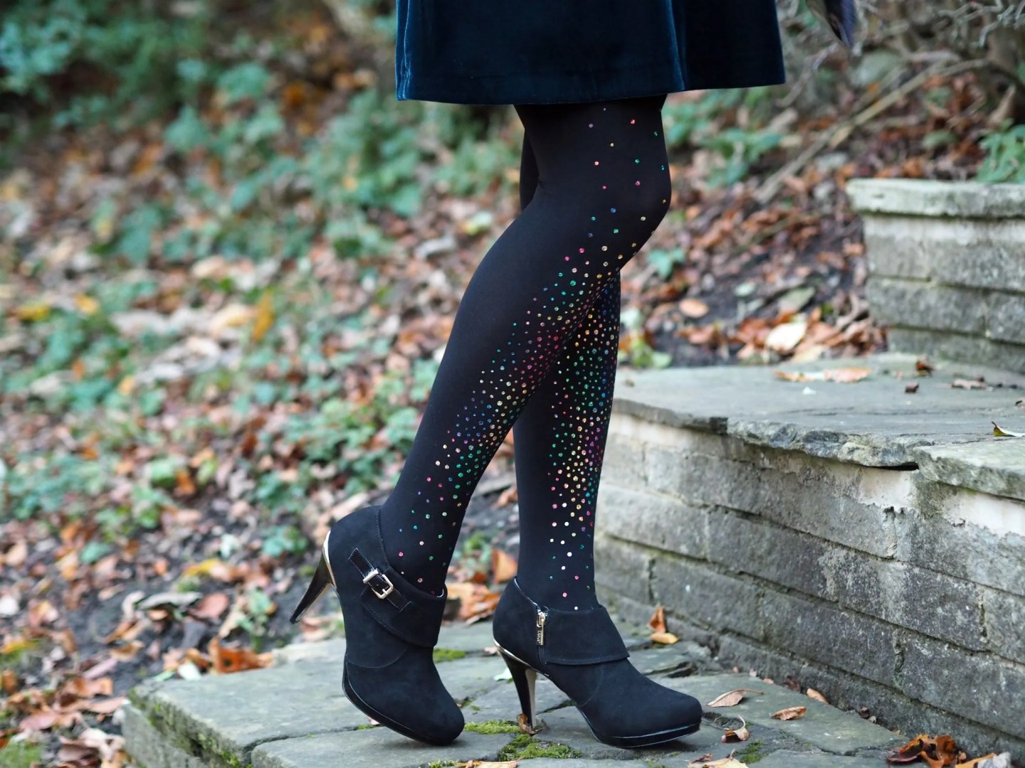 what Lizzy Loves teal velvet swing dress multi-coloured crystal tights black ankle boots