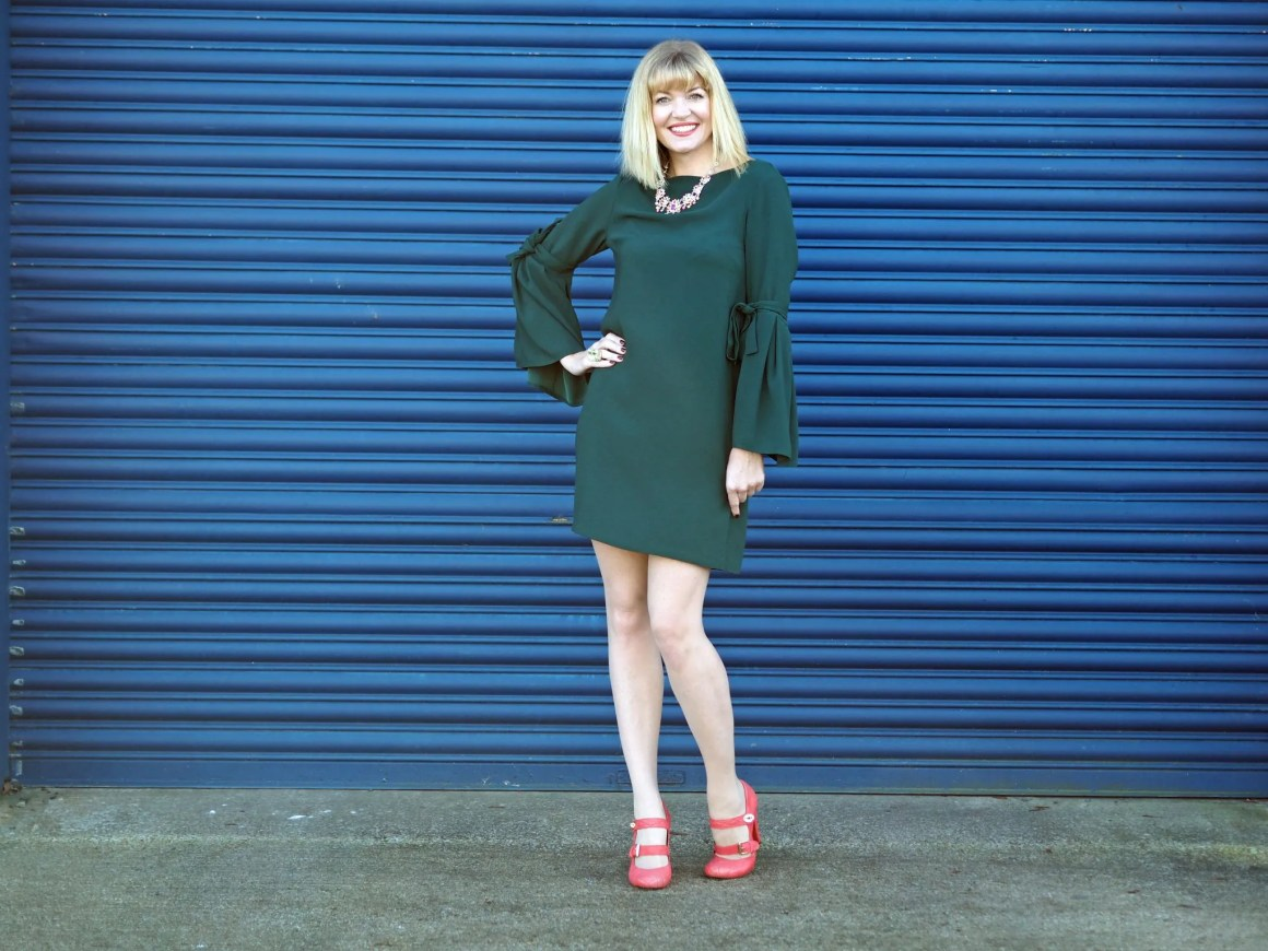What Lizzy Loves easy party look green dress rainbow Swarovski crystal jewellery orange Mulberry shoes