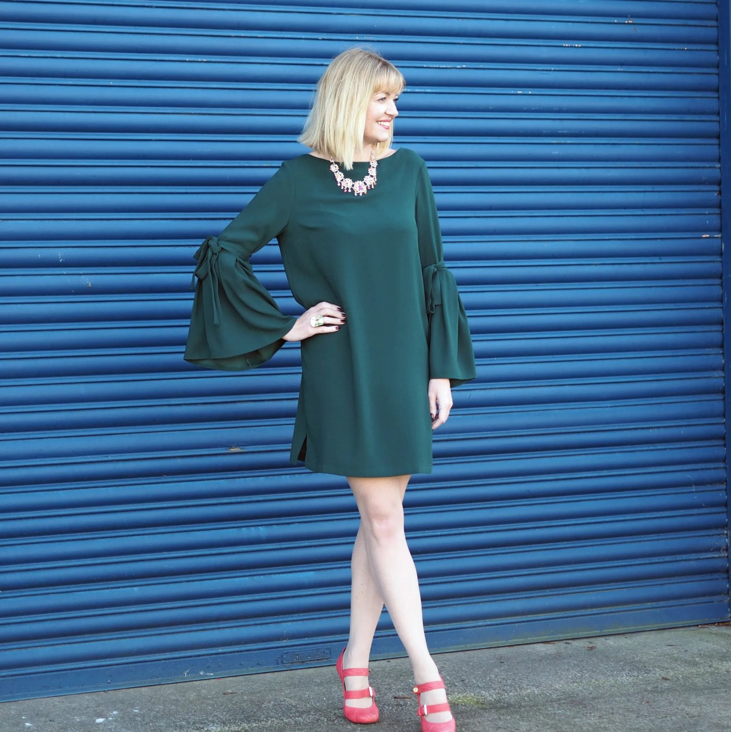 What Lizzy Loves easy party look Finery green dress rainbow Swarovski crystal jewellery