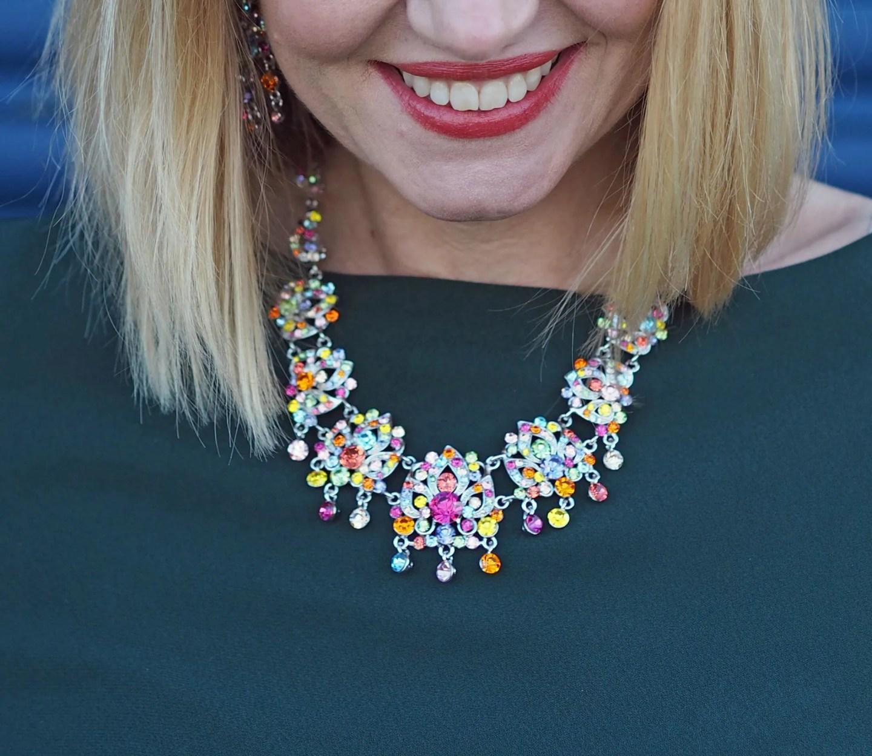 what Lizzy Loves green tunic dress rainbow swarovski crystal necklace
