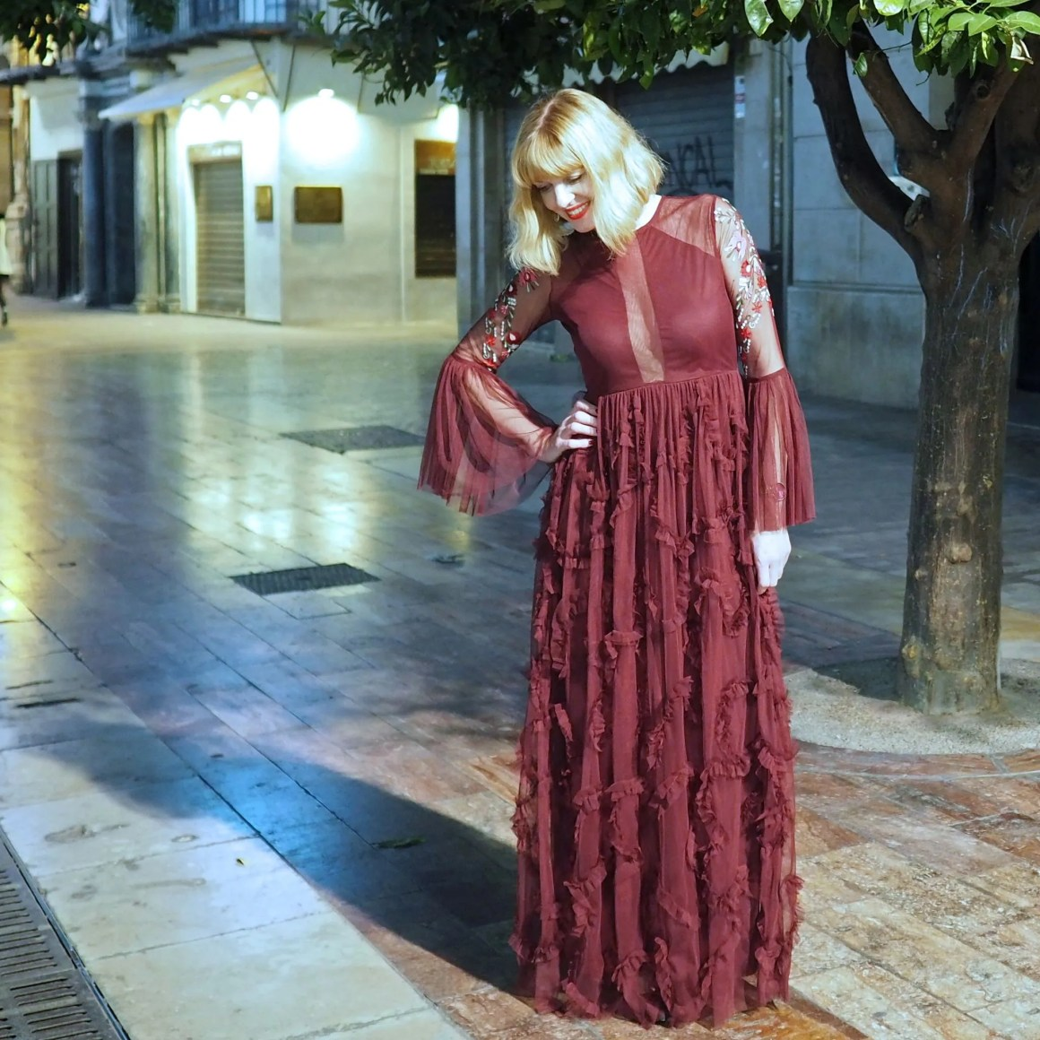 What Lizzy Loves Topshop burgundy ruffled maxi dress