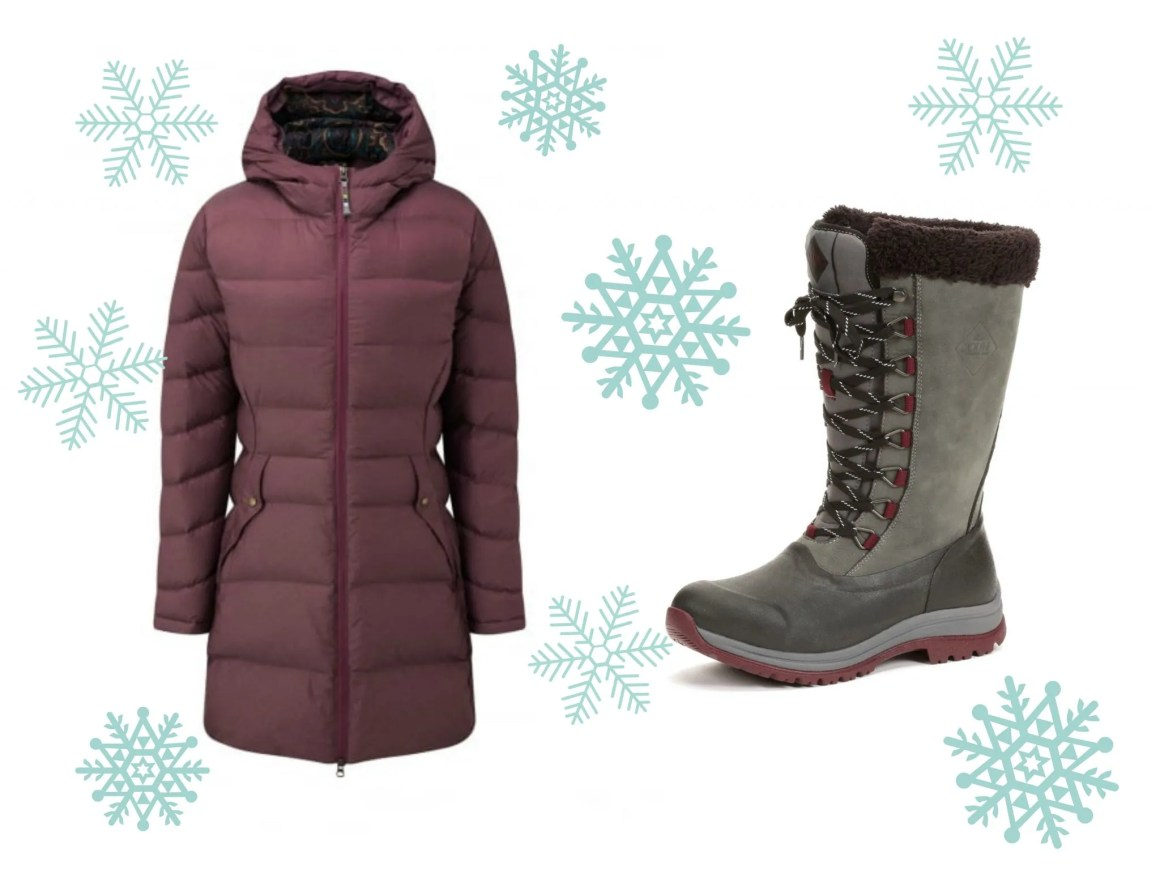 what lizzy loves down coat and fleece-lined wellies