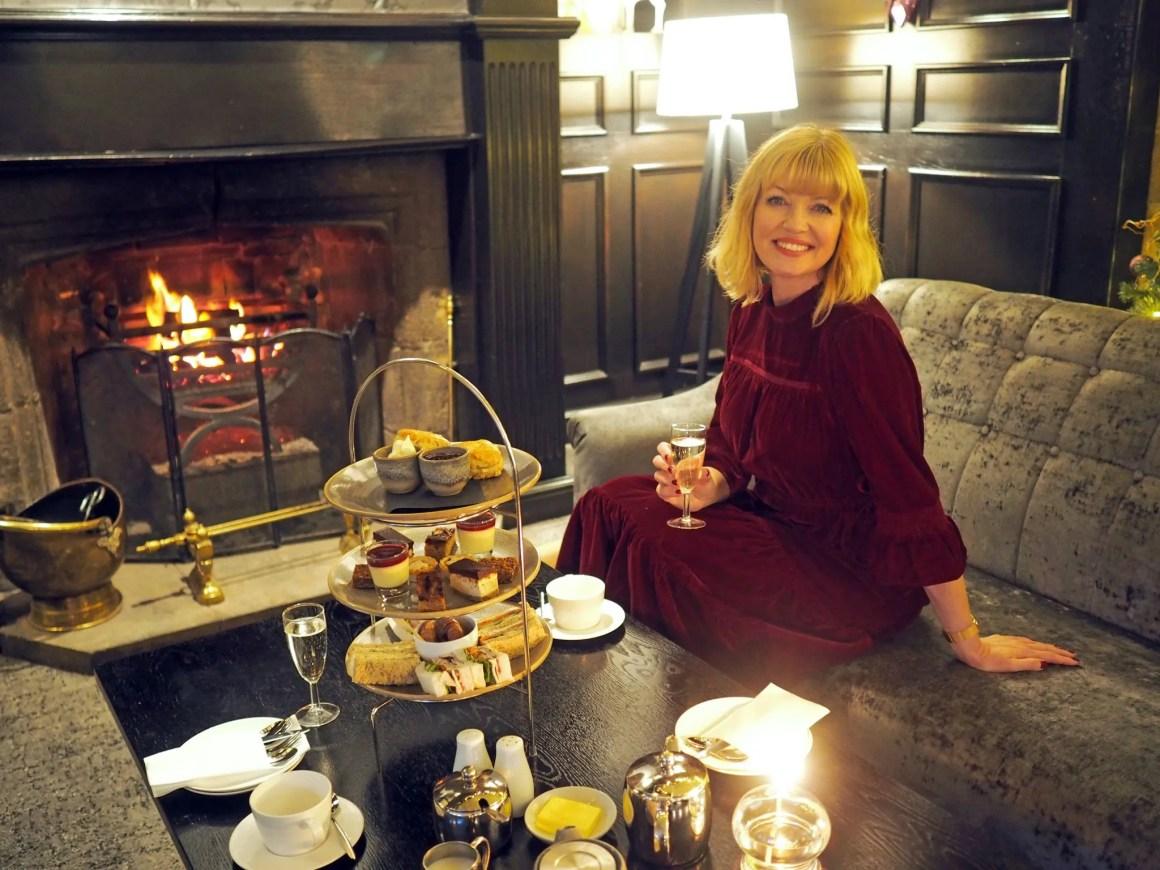 What Lizzy Loves Festive afternoon tea Stirk House marks and spencer burgundy velvet dress