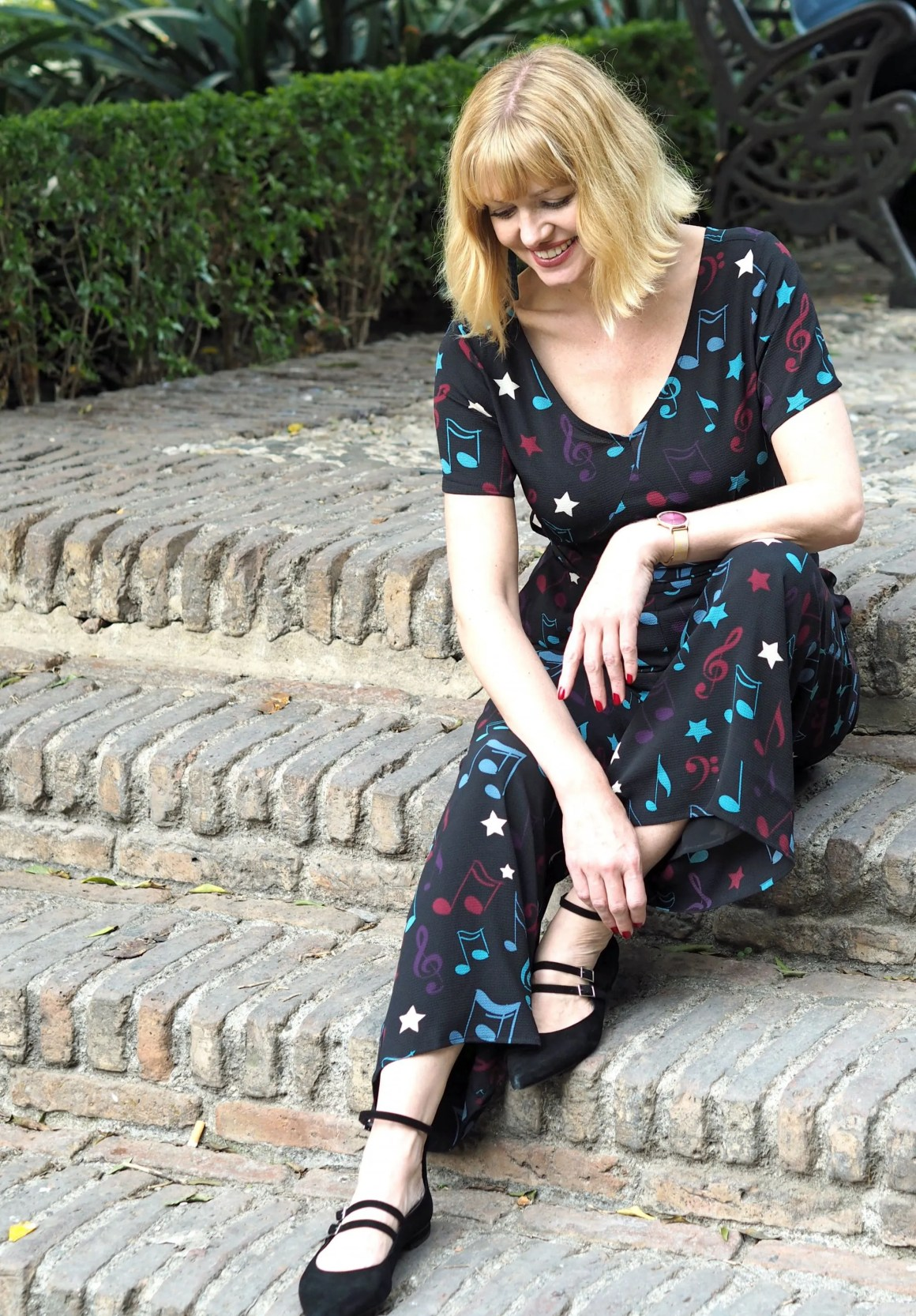 What Lizzy Loves Malaga in November jumpsuit strappy flats