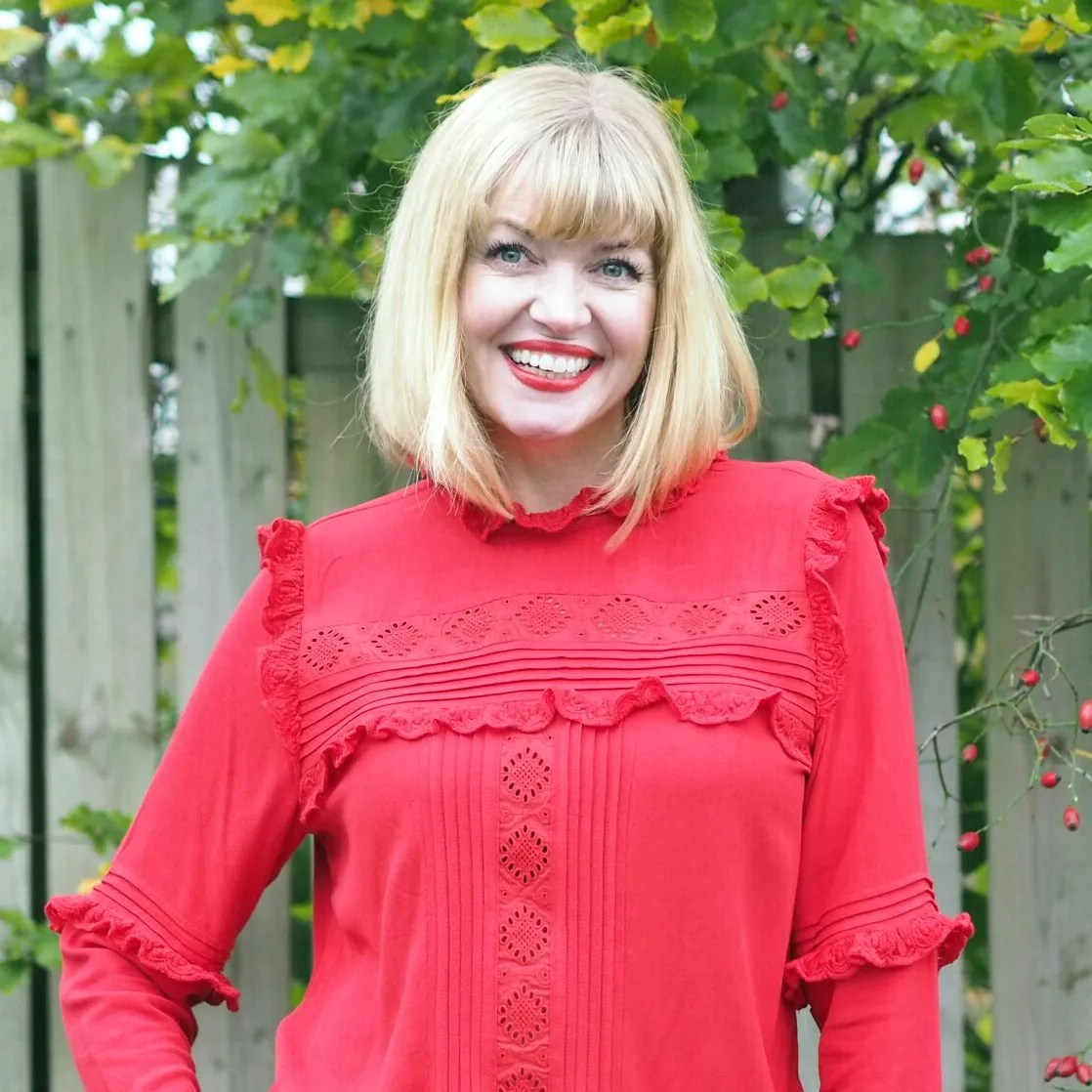 what lizzy loves red ruffle blouse