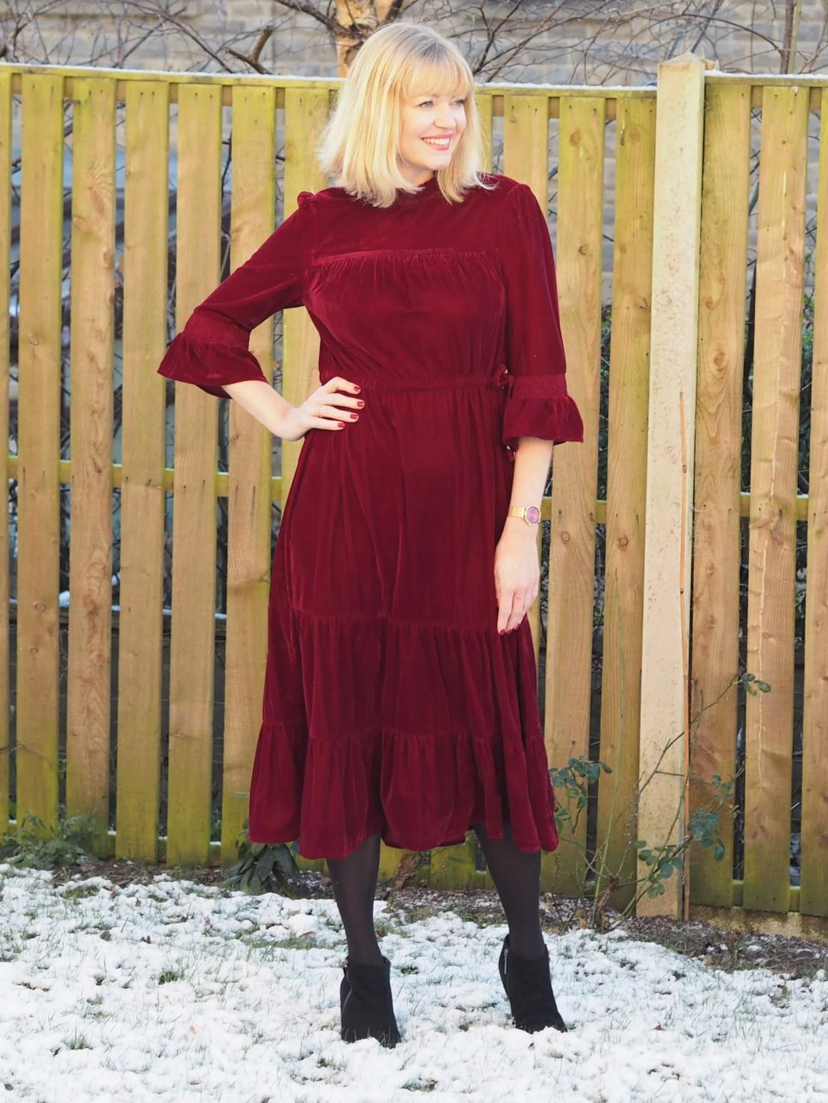 What Lizzy Loves Marks and Spencer red velvet midi dress