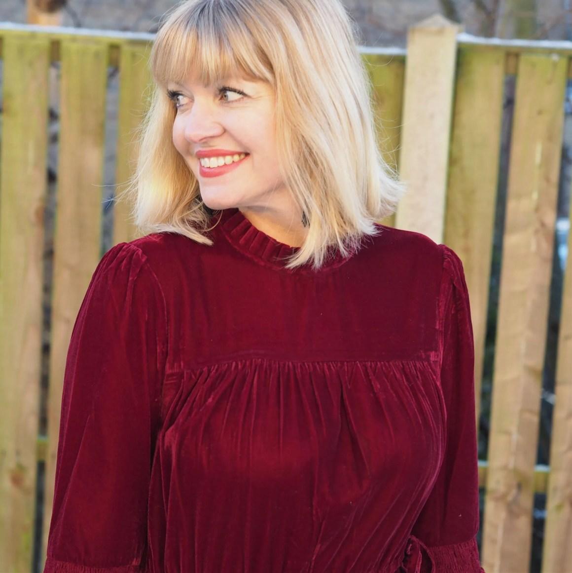 What Lizzy Loves red velvet midi dress