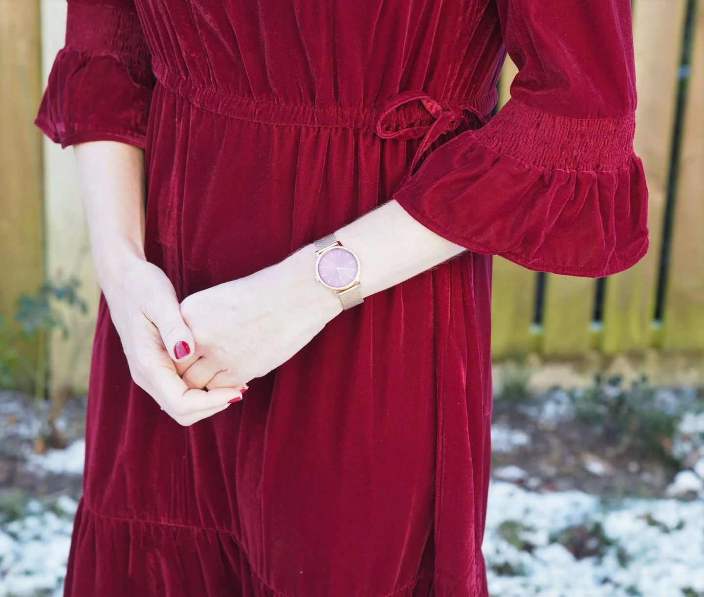 What Lizzy Loves red velvet midi dress sleeve detail
