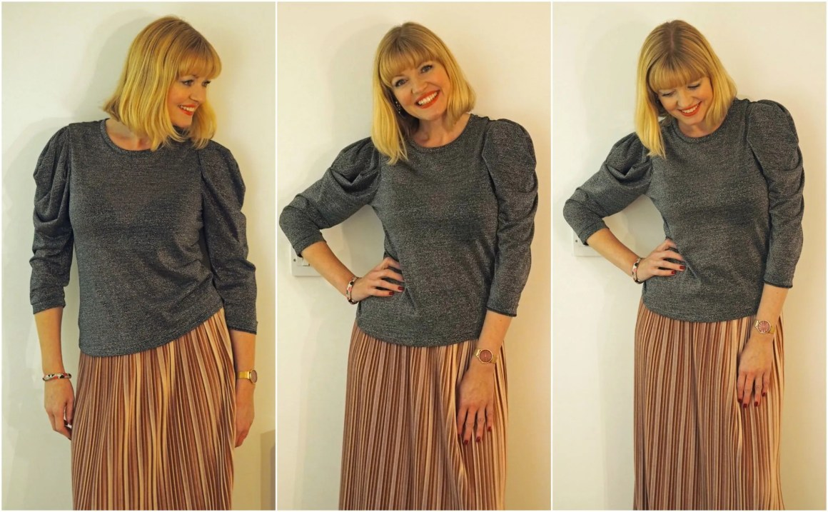 What Lizzy Loves pink velvet midi skirt and metallic sparkly top