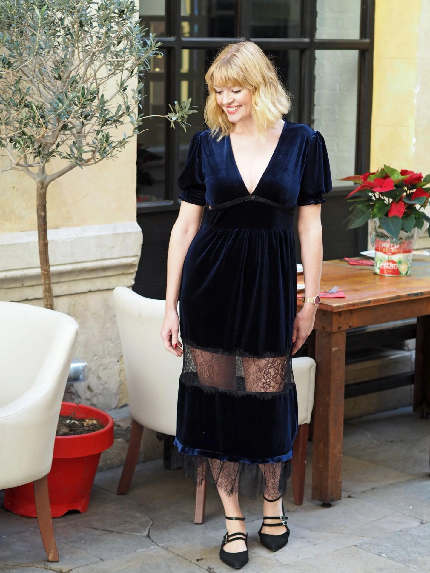 what lizzy loves navy velvet lace dress