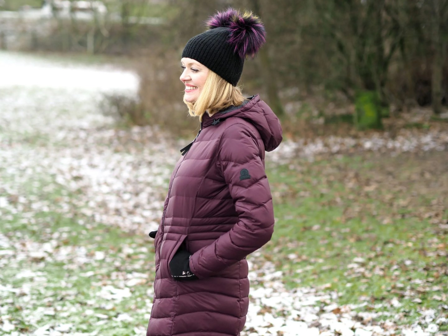 what lizzy loves how to keep warm and look stylish flattering burgundy puffer coat
