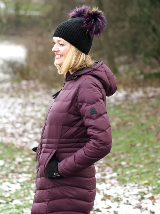 what lizzy loves keep warm look stylish flattering burgundy puffer coat