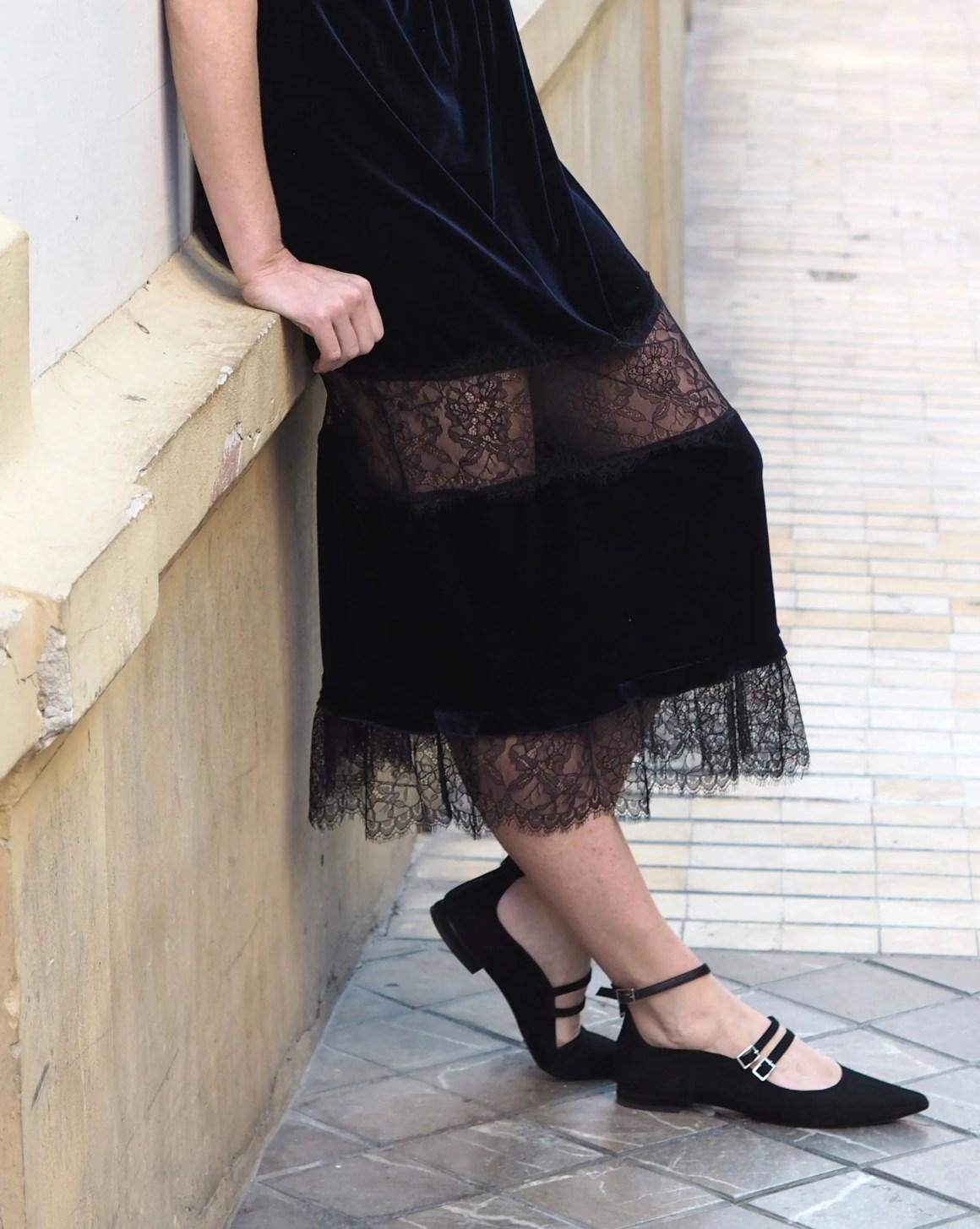 What Lizzy Loves navy velvet dress strappy flat shoes
