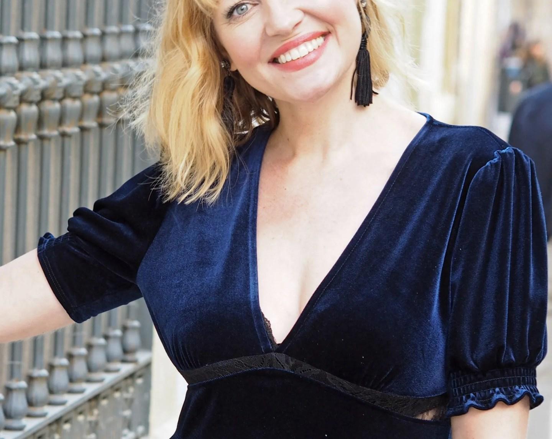 What Lizzy Loves velvet and lace panel dress tassel earrings