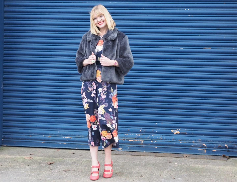 What Lizzy Loves spring trends bold colour floral jumpsuit faux fur jacket