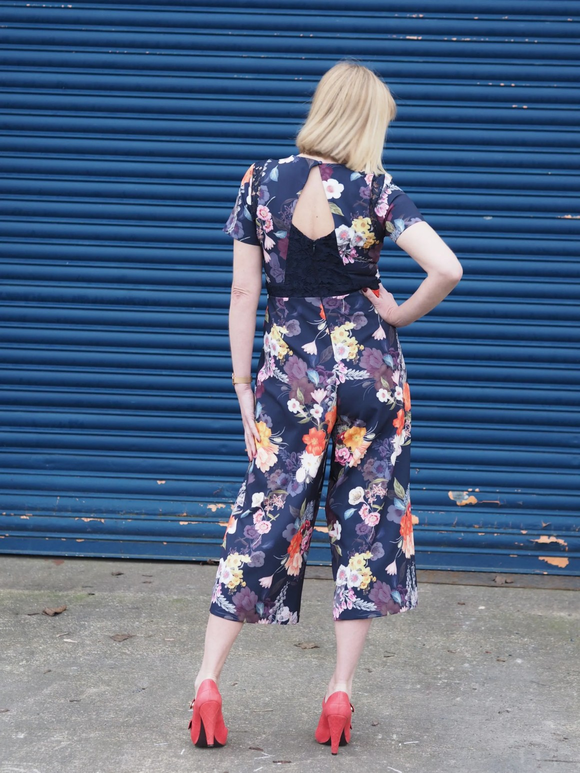 What Lizzy Loves spring trends bold colour floral lace jumpsuit back view