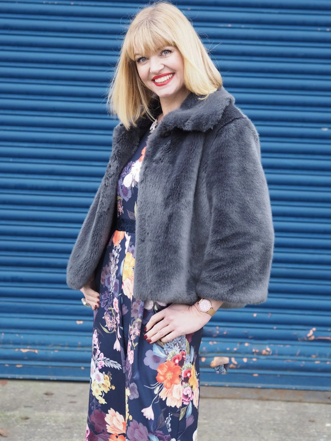 What Lizzy Loves spring trends bold colour floral jumpsuit grey faux fur jacket