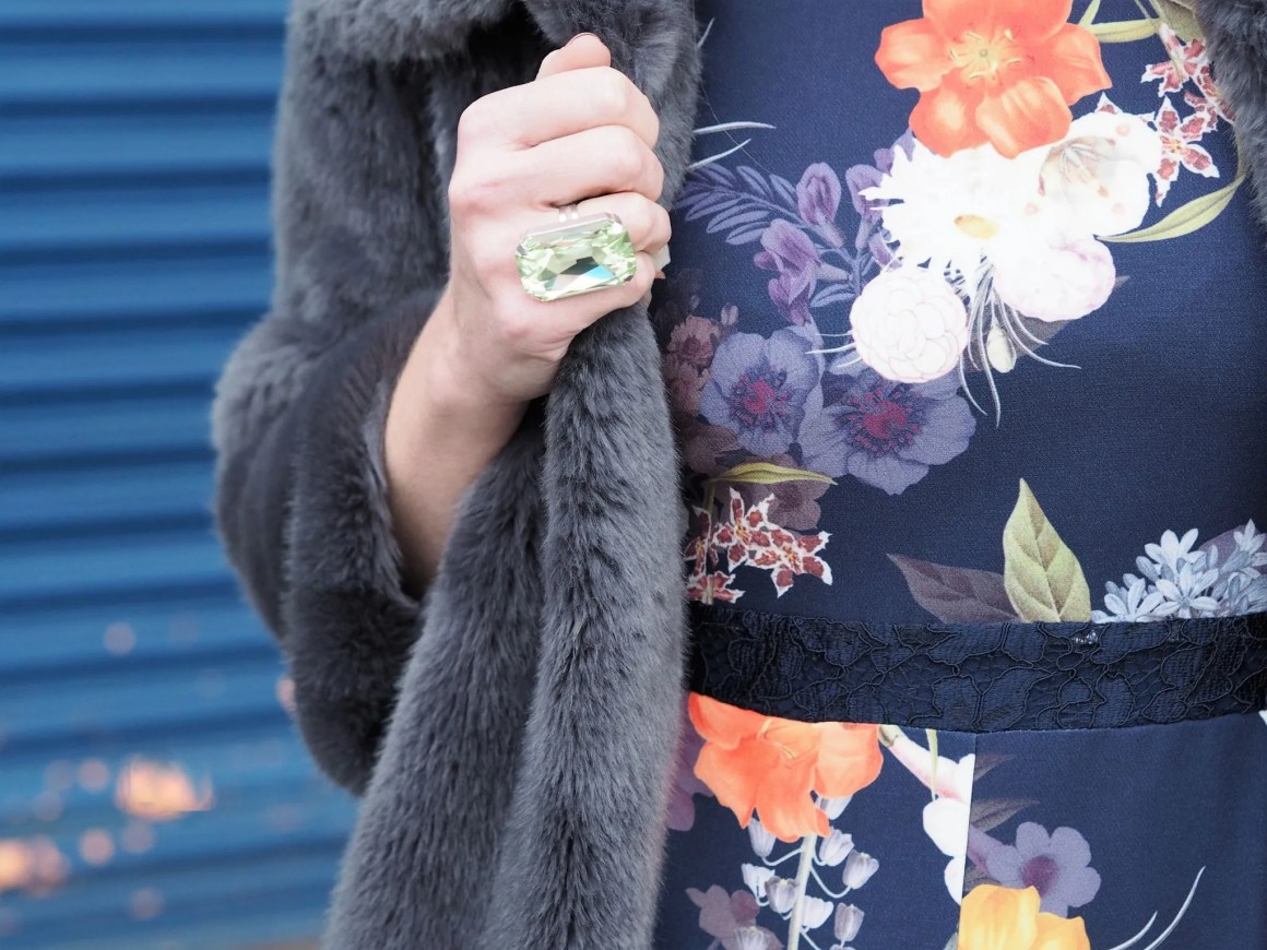 What Lizzy Loves spring trends bold colour floral jumpsuit peridi ring