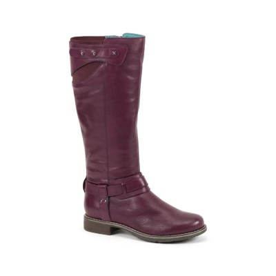 purple leather boots