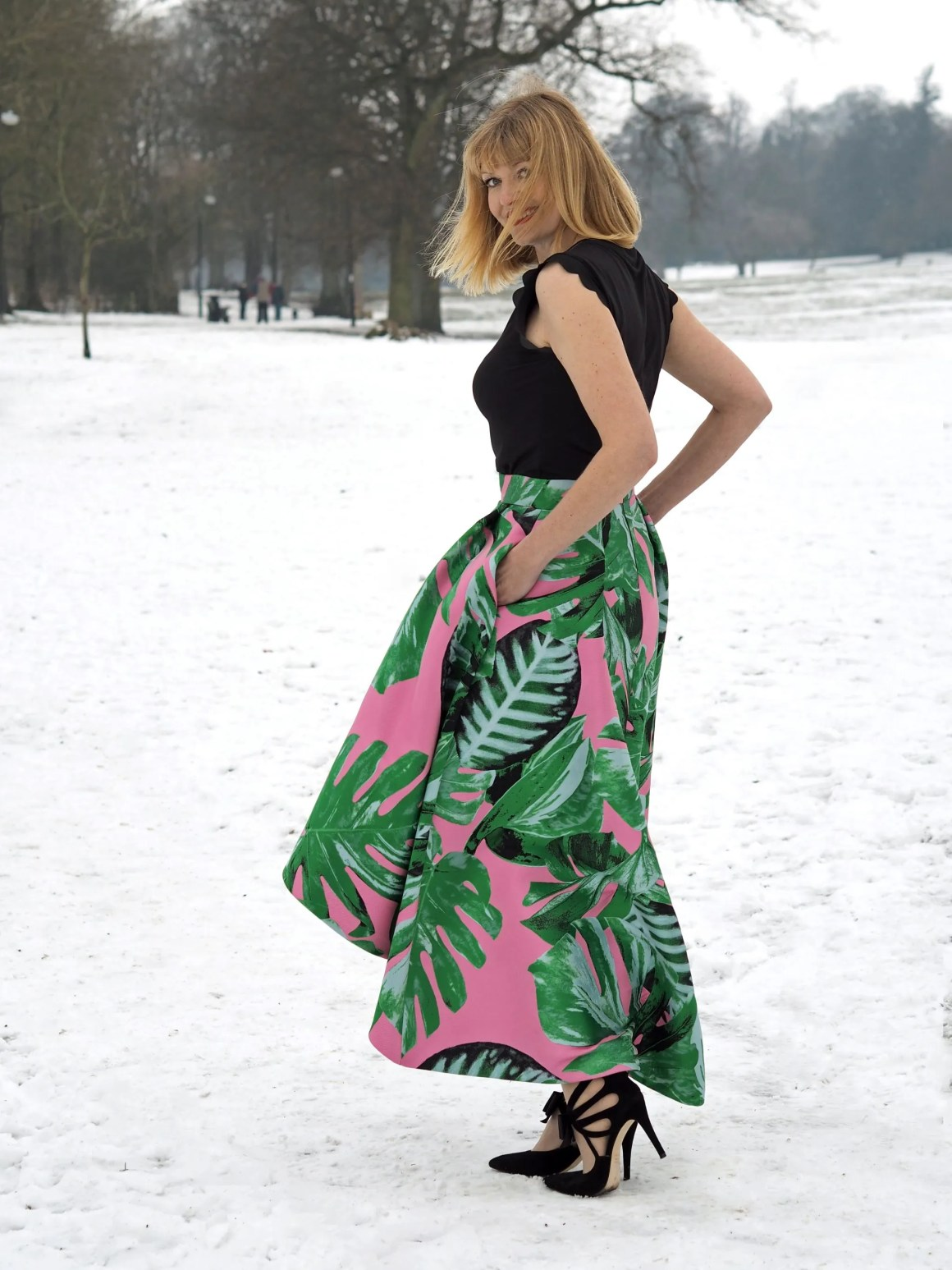 what lizzy loves green and pink Coast party leaf skirt faux fur jacket snow