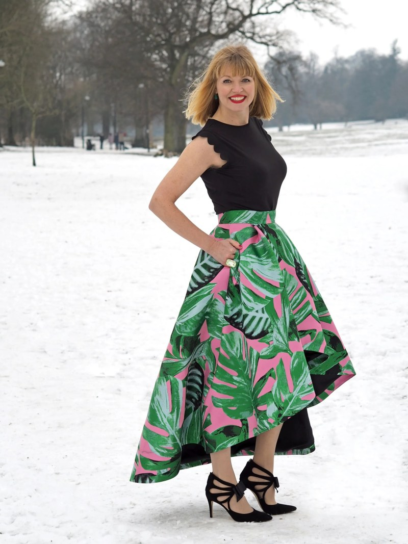 Green And Pink Party Skirt: Making A Statement In The Snow