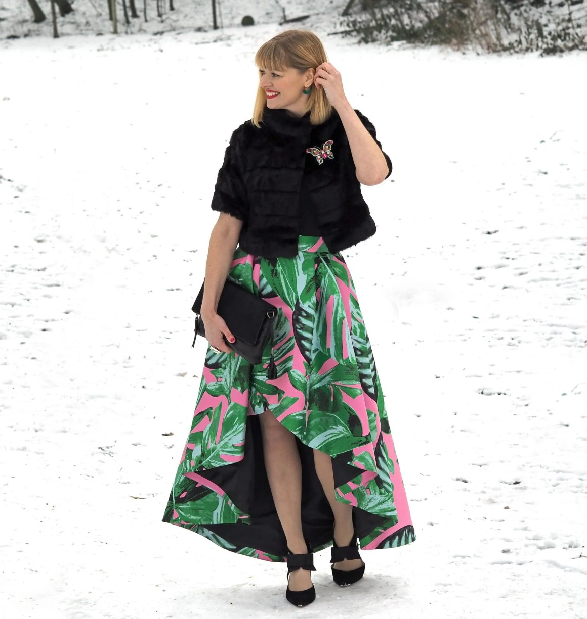what-lizzy-loves-green-pink-party-skirt-faux-fur-jacket