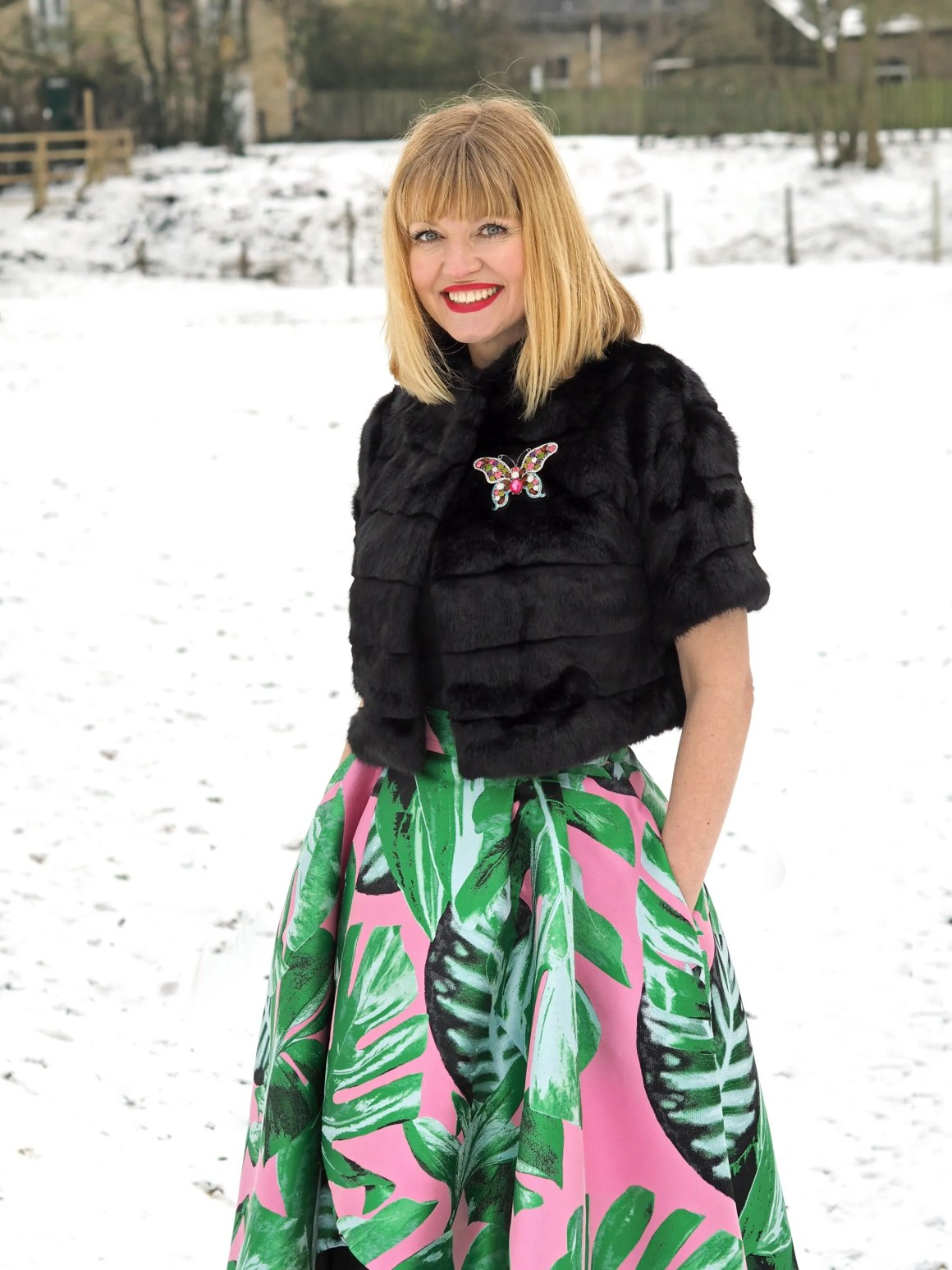 what lizzy loves green and pink party skirt faux fur jacket snow butterfly brooch