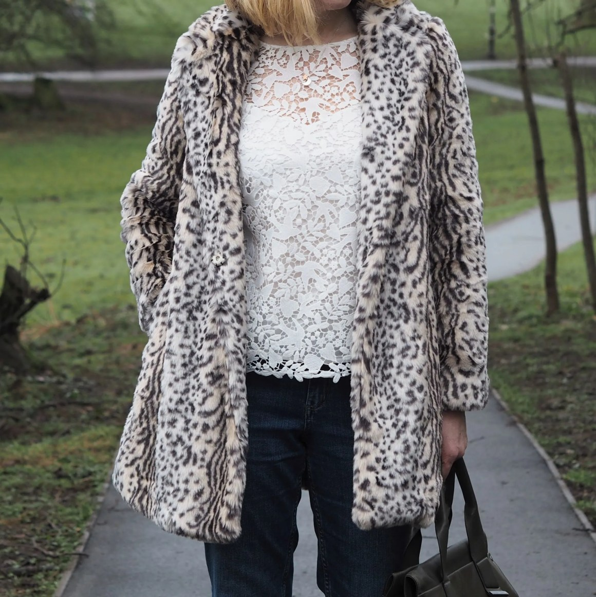 What Lizzy loves grey leopard print coat