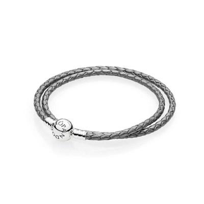 Pandora grey leather woven bracelet