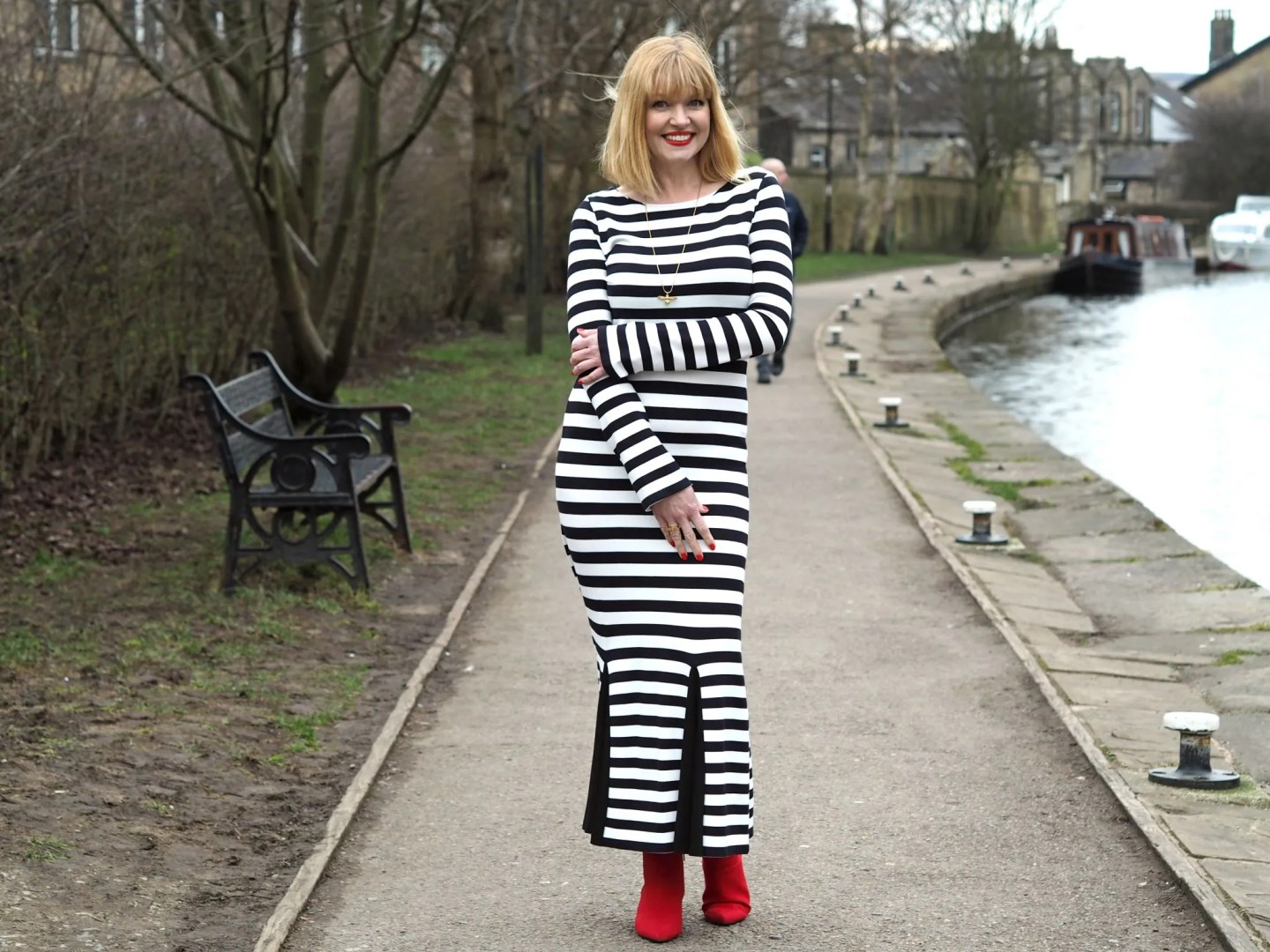 What Lizzy Loves black striped long dress red boots bee jewellery
