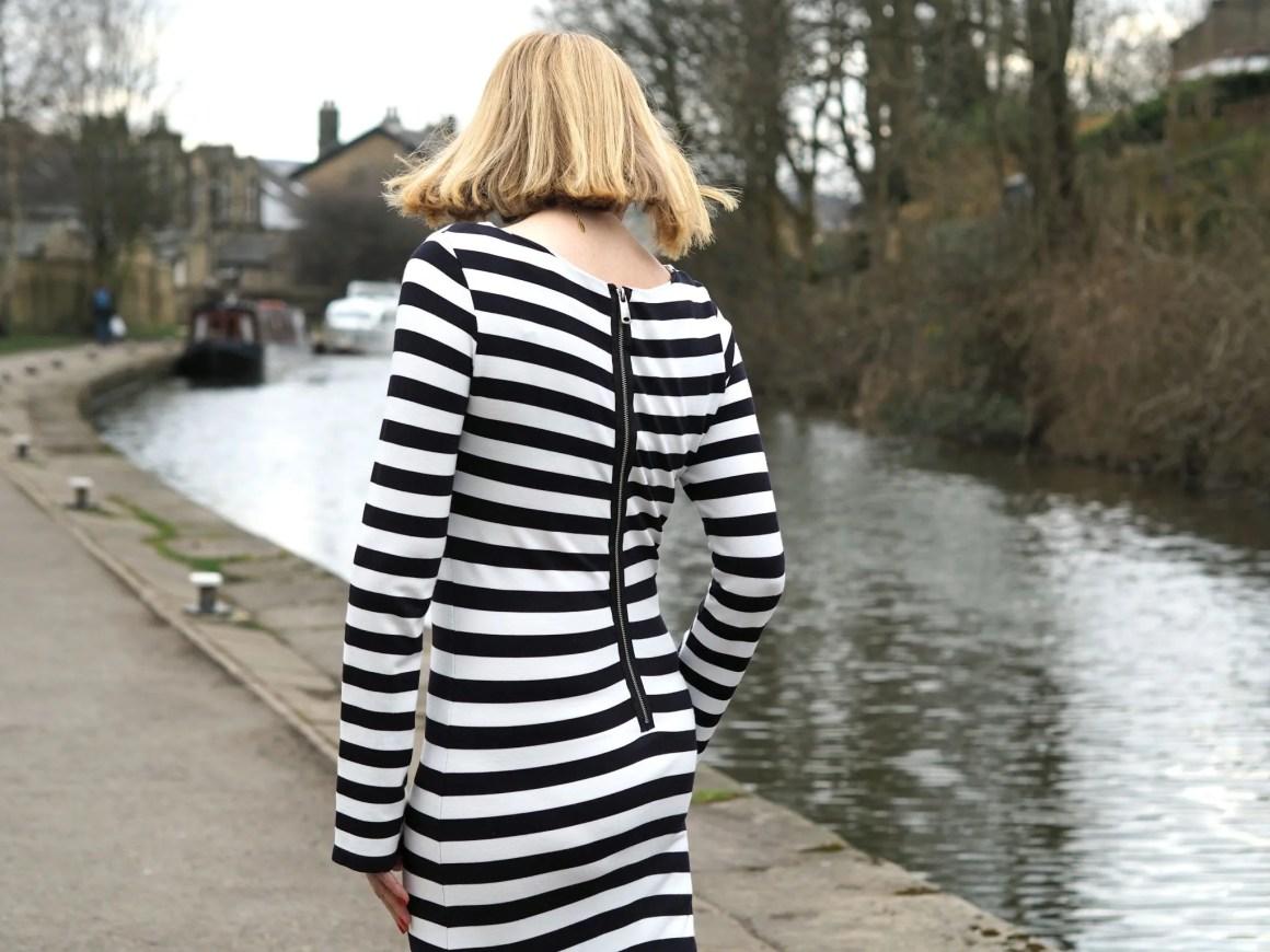 What Lizzy Loves black striped long dress back zip