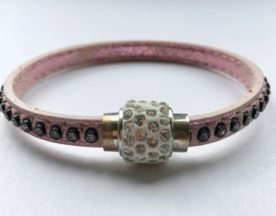 Pink diamante wrap bracelet with magnetic fastener