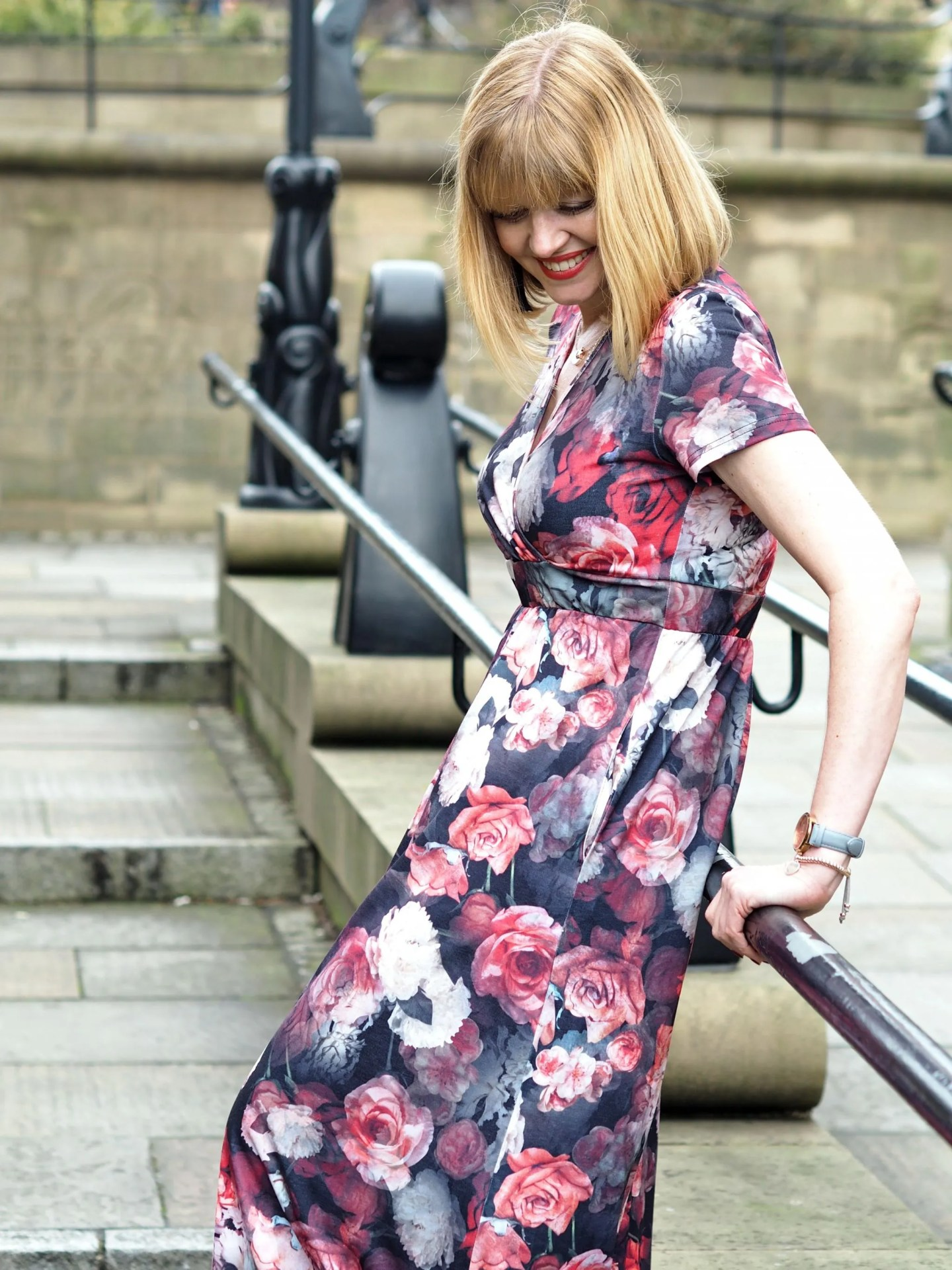 what Lizzy Loves rose floral maxi dress