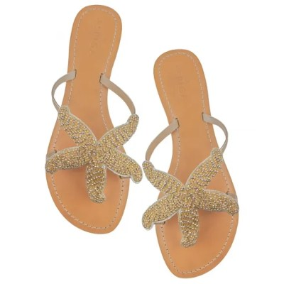 Gold beaded star fish sandals
