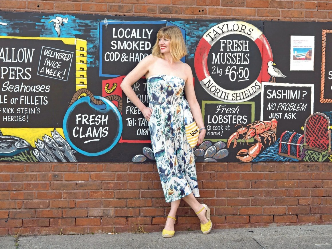what lizzy loves strapless floral jumpsuit blue skies pouch north shields graffitti wall
