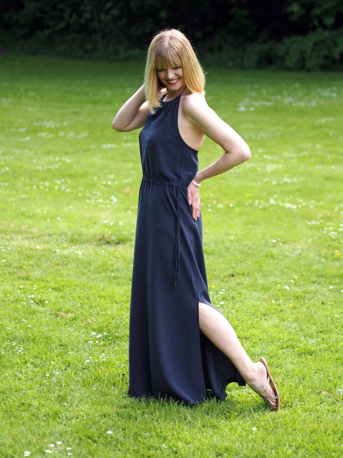 what lizzy loves white company silk navy maxi dress