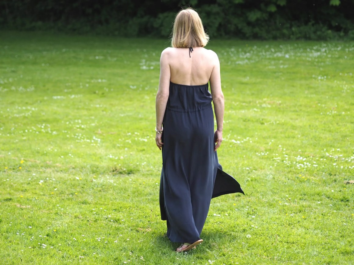 what Lizzy loves silk halter neck navy maxi dress