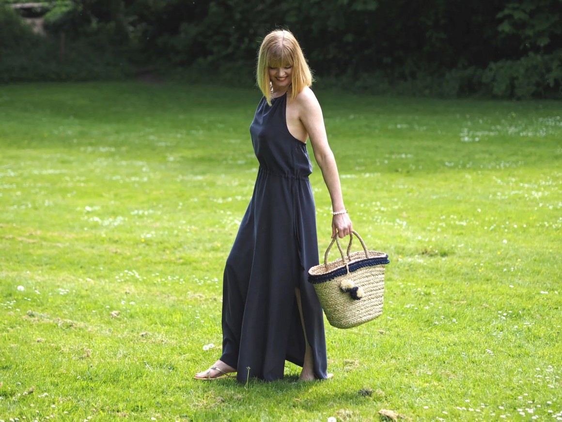 what Lizzy loves silk navy maxi dress navy pom pom basket