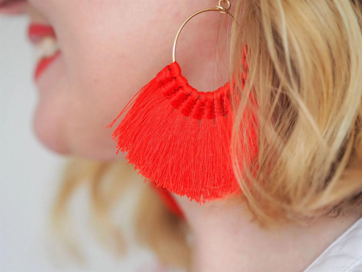 what lizzy loves red tassel earrings