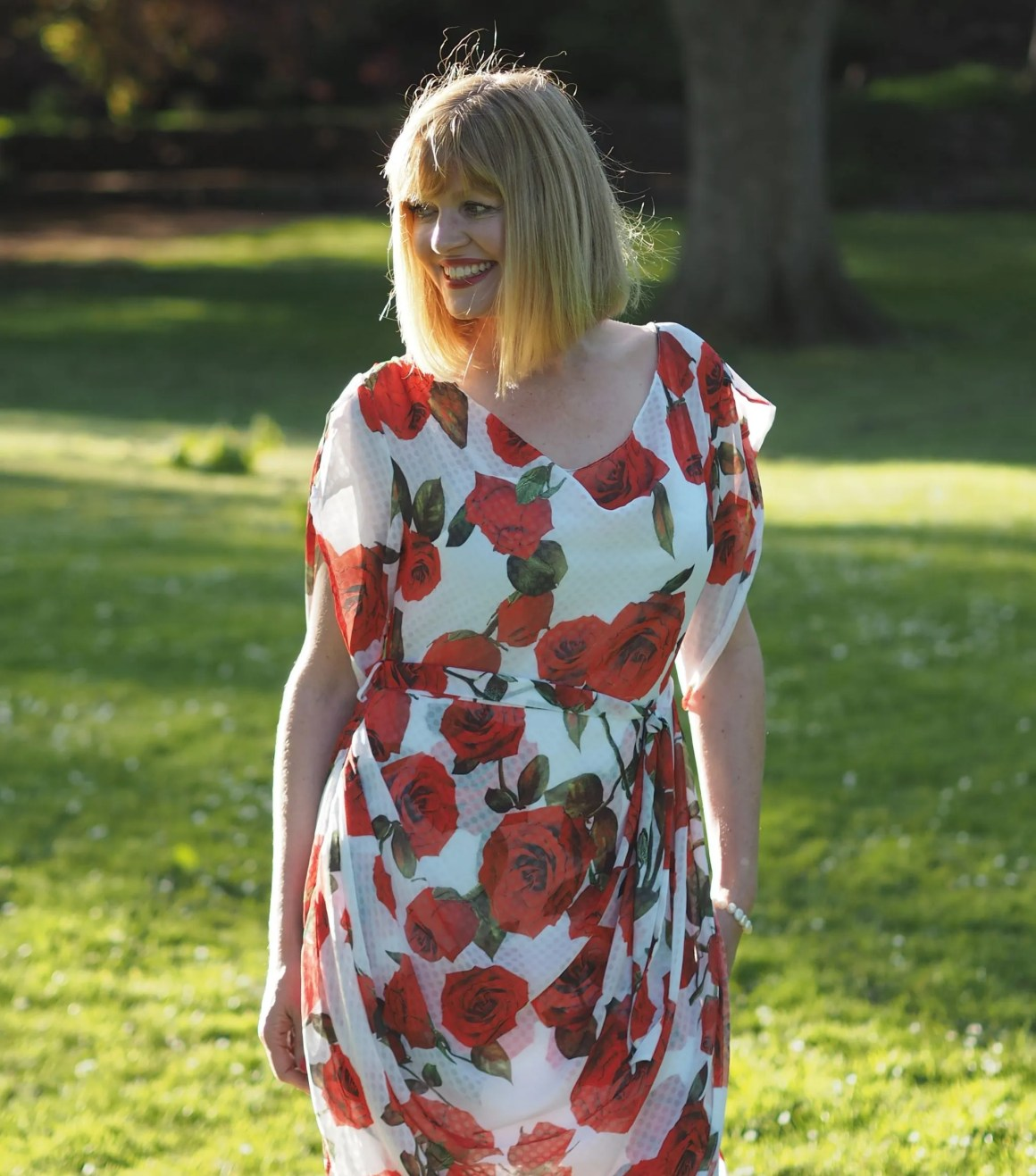 what lizzy loves draped red and white roses dress