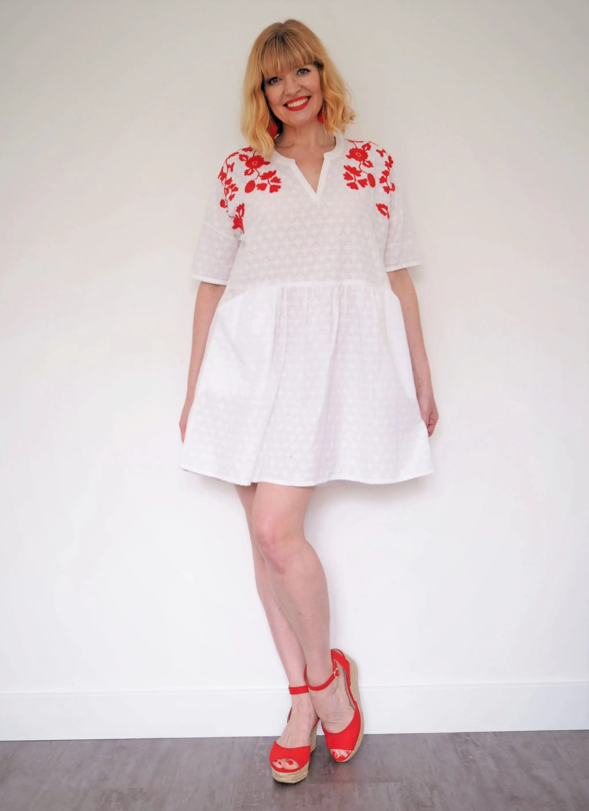 what lizzy loves coral and red holiday wardrobe dress