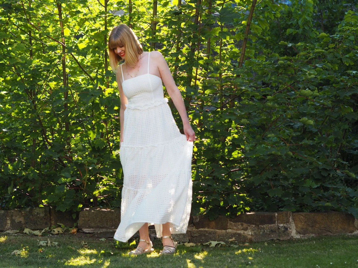 what lizzy loves broderie maxi dress