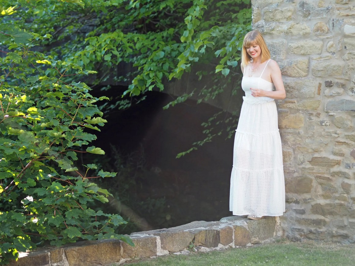 asos whote broederie maxi dress midsummer in skipton