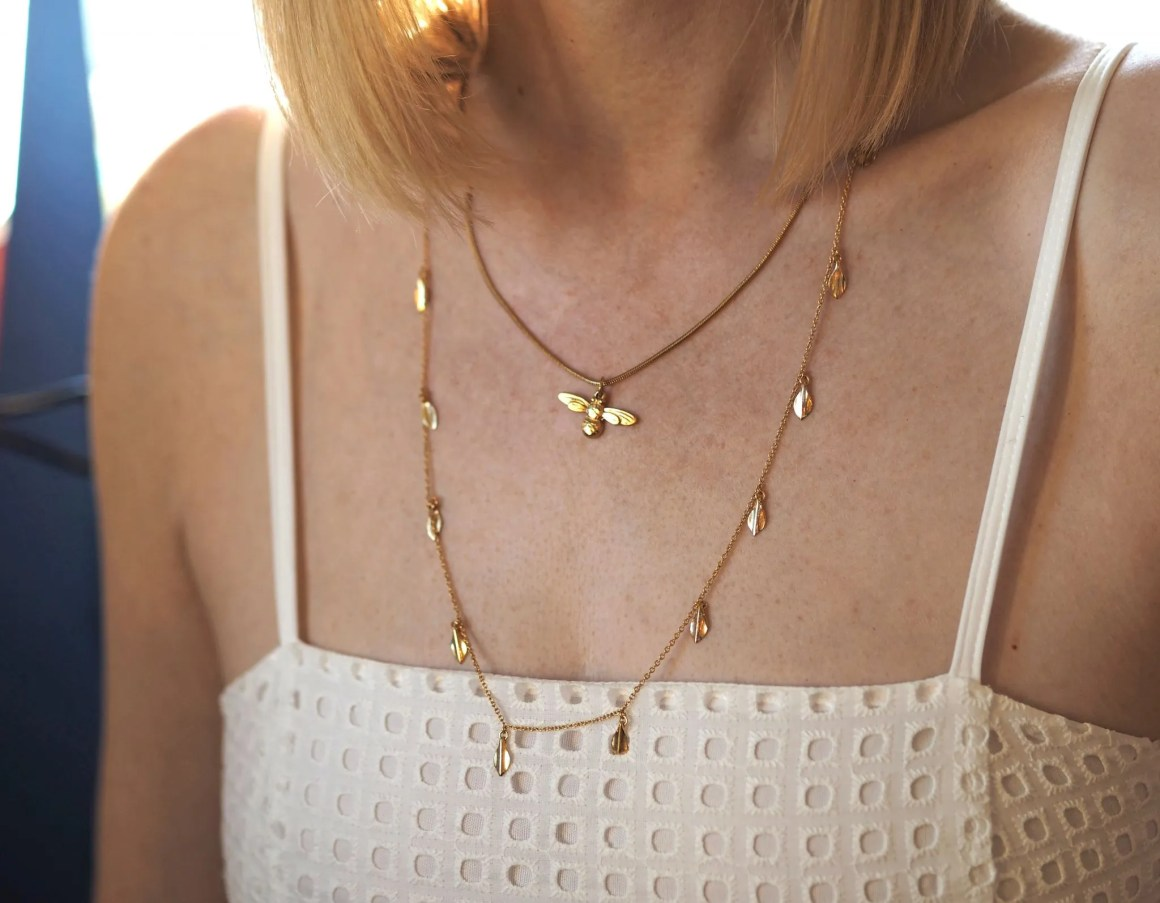 what lizzy loves gold bee necklace