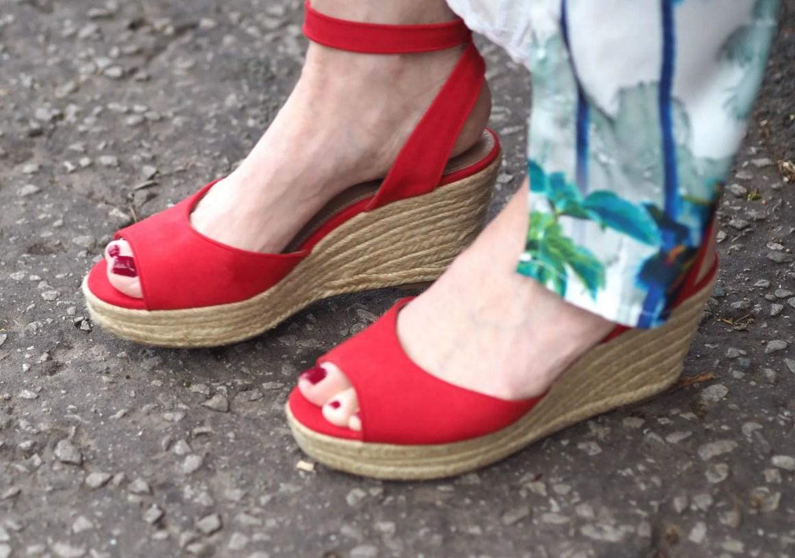 one shoulder palm print maxi dress red espadrilles